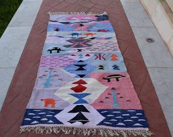 Azilal Moroccan Boucherouite kilim rugs  carpet,berber rug 200 cm* 98 cm  / 79 inch * 38.5 inch Christmas gift