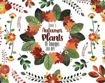 Watercolor Autumn Floral Clipart - Floral Wreath Clipart - Instant Download - Floral Fall Wedding Banner Items