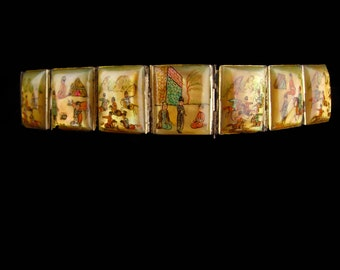 Vintage Wide Persian Bracelet - Antique portrait miniatures - storytelling panels - set in silver and mother of pearl