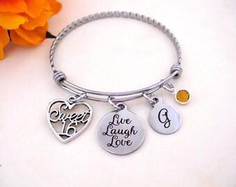 Sweet 16 Gift, Sweet 16 Bracelet, Sweet Sixteen Jewelry, Sixteenth Birthday Present, 16th Birthday, Sweet 16th Present