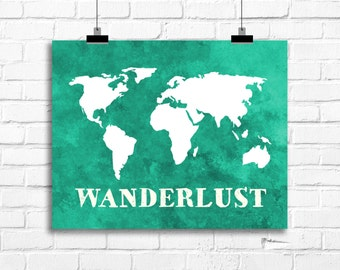 wanderlust art print, wanderlust decor, world map wall art, world map poster, home decor, living room decor, nursery map wall art