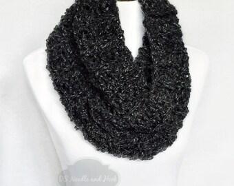 Grey Crochet Scarf, Gray Crochet Cowl, Soft Knit Scarf, Gray Neck Warmer, Charcoal Infinity Scarf, Dark Gray Draped Cowl, Grey Snood
