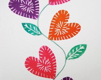Love Grows, original block printed valentine, Anniversary card, printmaking