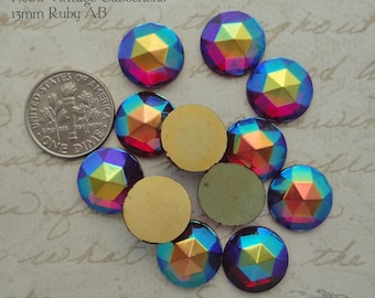 Vintage Cabochons - 13 mm Facet Ruby AB -  6 West German Faceted Glass Stones