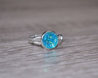 Light Blue Druzy Ring. Silver tone adjustable ring. Dainty ring, bridesmaid gift, stocking stuffer, gift for her, gift under 10, aqua