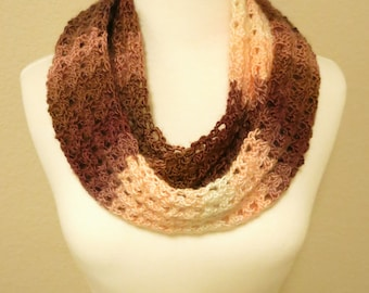 Crochet Infinity Scarf in Brown and White