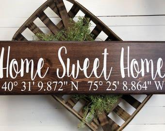 Home Coordinates sign | GPS Coordinates Sign | Home Sweet Home sign | Coordinates Home Sign | First Home | Latitude Longitude  | Coordinates