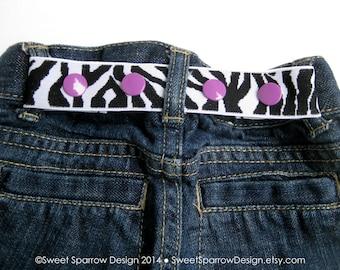 Zebra Toddler Belt- Elastic SNAP BELT- Zebra Baby Belt- Kids Belt for Girls- Waist Cincher- Adjustable Toddler Belt- Black White Girls Belt