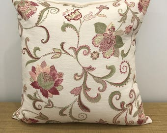"""French Fabric Provincial Pink Floral Flowers Jacquard cushion cover throw pillow. 16""""/18"""". Made Australia."""