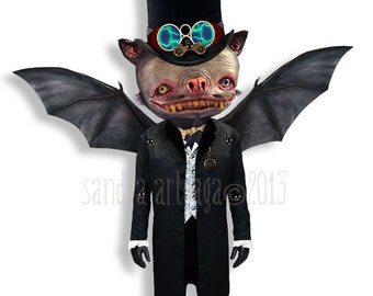 "Murphyelago -  Halloween prop articulated Paper Doll - 13.4"" - gentleman bat wings musician creatures vampire art doll halloween decor"