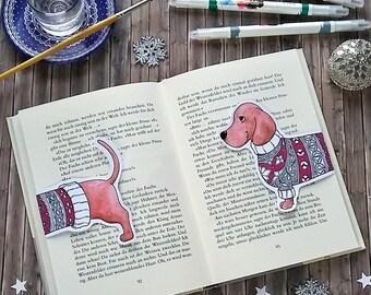 Dachshund Bookmark - Coloring Page - Greeting Card - Christmas Craft - DIY - Printables