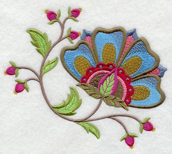 Jacobean Flower 9 Machine Embroidered Quilt Block Azeb