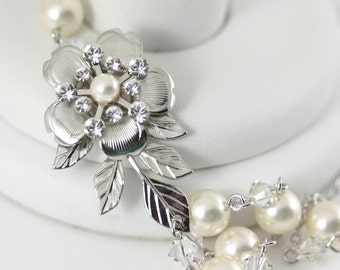 Wedding Bridal Necklace Flower Necklace Leaf Necklace Ivory Pearl Crystal Wedding Jewelry  Brides Necklace DELICATE LISSE