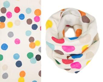 Colorful Confetti Infinity Scarf - Hand Printed Sweatshirt Fleece Circle Scarf in Cream and Multi Rainbow