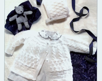 BABY 4ply Matinee Set   14-20 ins - Spectrum 7087  - PDF of  Vintage Style Baby Knitting Patterns