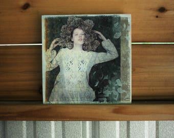 Original Art, Portrait, Girl, Woman, Nature, Flower, Hydrangea, Headdress, Pattern, Texture,  8 x 8, Mixed Media, Wood, Panel