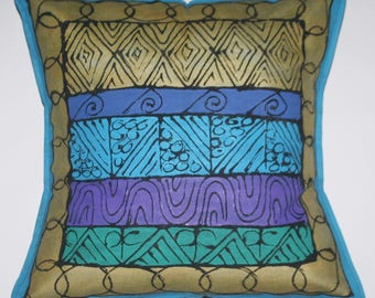 African Pillow Geometric Gold Blue Green Purple Hand Painted in South Africa Xhosa Tribal Textile  Fair Trade Free  Shipping U.S.