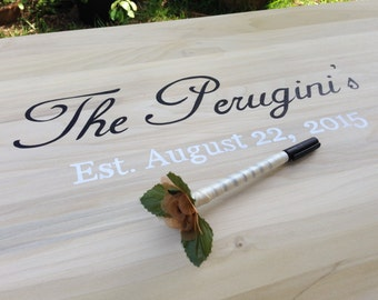 New Guest Book Idea. Wedding Guestbook sign with Decorative Pen. Signature board for guests