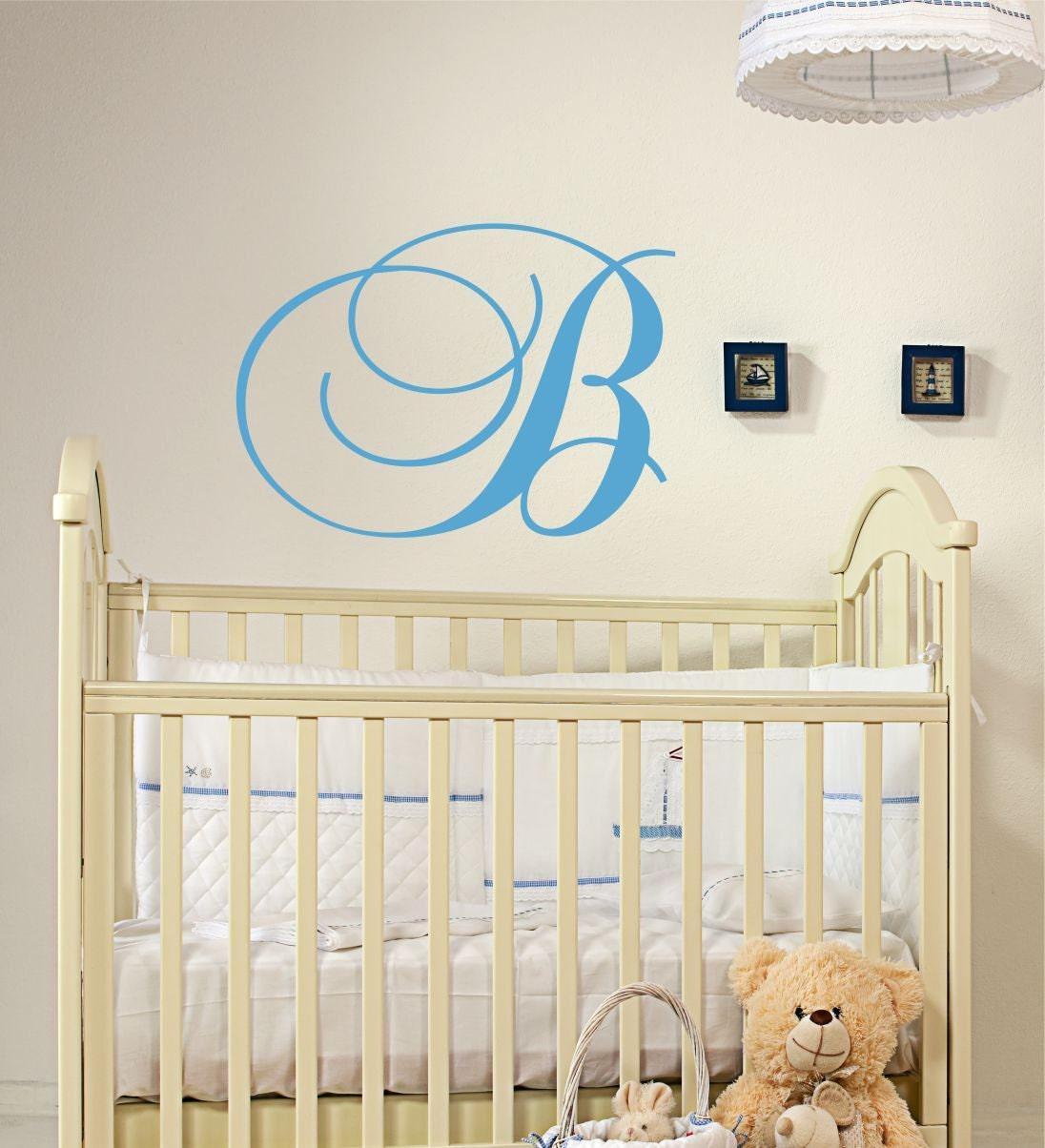 Custom Monogram Wall Decal // Initial Wall Decal // Nursery Vinyl Sticker // Family Monograma Decal // Monogram Initial // Home Decor & Custom Monogram Wall Decal // Initial Wall Decal // Nursery Vinyl ...