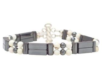 "Hematite & Magnesite Double Power Bracelet - ""Insomnia Relief"" - Beaded Bracelet, Healing Bracelet"