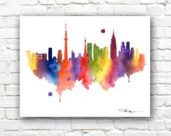 Tokyo Skyline - Watercolor Art Print - Wall Decor