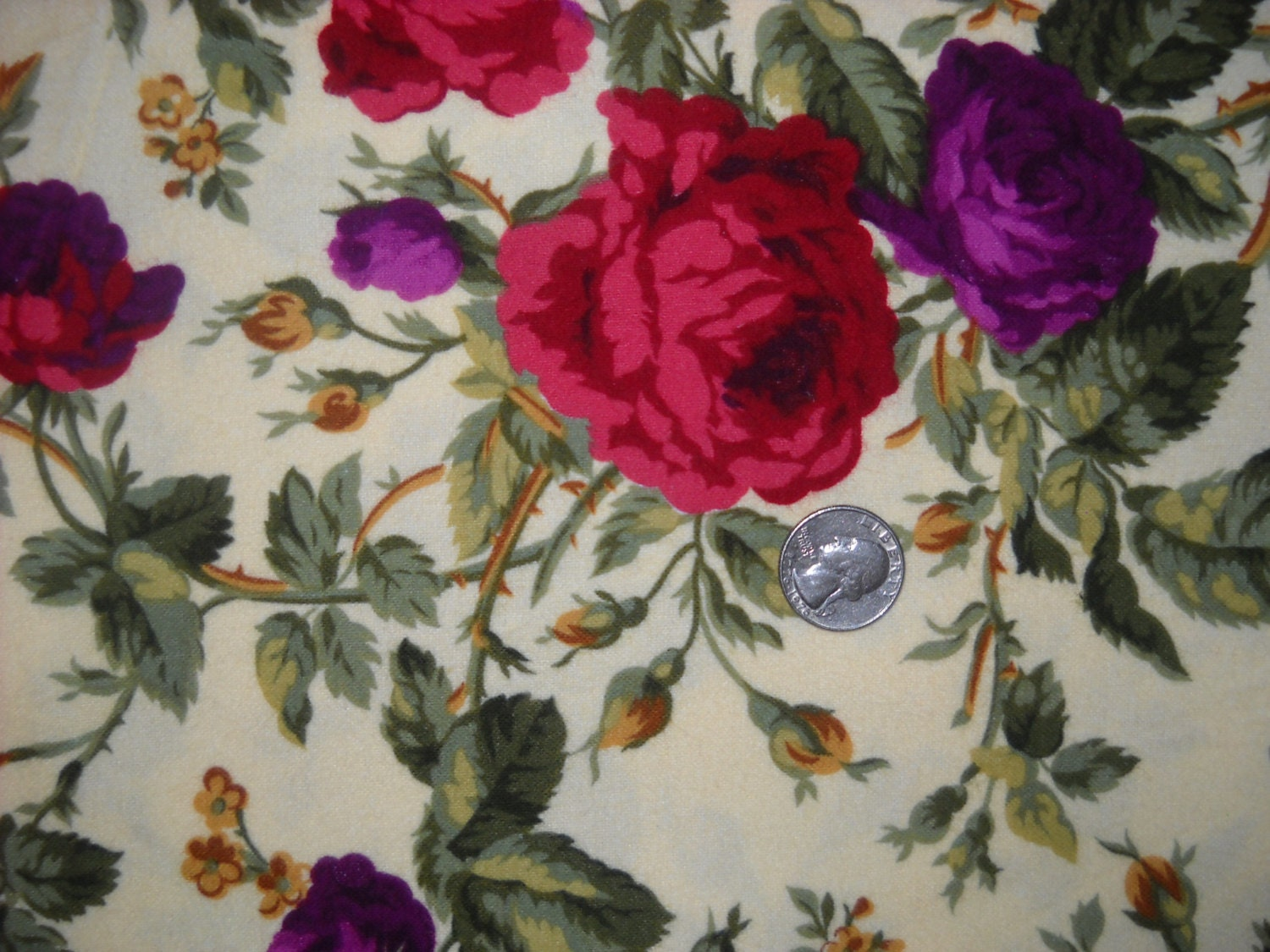 Quilters Cotton Flannel Fabric with Burgandy and Purple Roses on ...