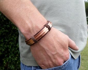 Men's Leather and Copper Bracelet, Men's Leather Bracelet, Men's Copper bracelet, Copper Bracelet, Leather Bracelet, Hammered Copper