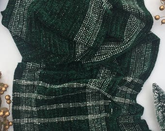 Evergreen Scarf | Handwoven | Rayon Chenille | Vegan Material |Gifts