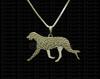 Irish Wolfhound movement - gold pendant and necklace.