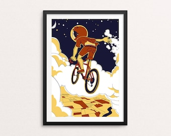 Boy on bike  print - outer space, illustrated art print, flying bike print, whimsical poster, kids room, astronaut art, flying in the clouds