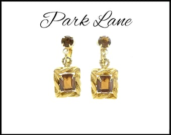 PARK LANE Topaz Rhinestone Earrings, Amber & Topaz Earrings, Framed Baguettes, Gold Dangle Earrings, Mothers Day Gift For Her