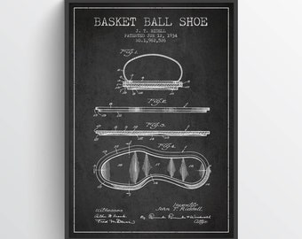 1934 Basket Ball Shoe Patent Poster, Basket Ball  Poster, Basket Ball Art Print, Basket Ball Wall Decor, Home Decor, Gift Idea, SA09P