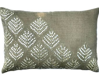 Decorative Oblong / Lumbar Throw Pillow Covers Accent Pillow Couch Sofa Pillow Case 12x16 Linen & Mother Of Pearl Pillow Cover - Leaf Pearl