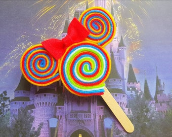 Minnie/Mickey Mouse Rainbow Lollipop Clip