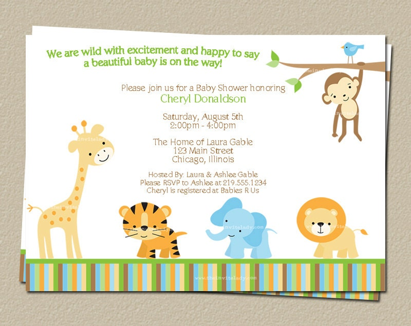 Digital Jungle Theme Baby Shower Invitation Safari Zoo