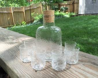 Oiva Toikka for Iittala Finland Fauna 7 Piece Glass Decanter Set