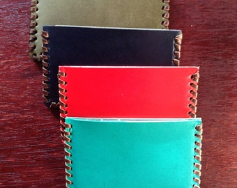 Genuine leather card case, leather card holder, Bank card holder, Business card case, Mini Wallet, Lleather card carrier Blue, Green, Red