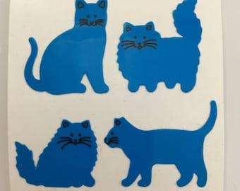 Vintage Blue Neon Sandylion Cat Stickers