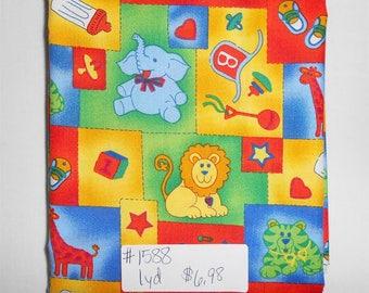 Fabric - 1 yard piece- Baby/Animal/Circus/Primary Colors/lion/elephant/giraffee/bottle/ball/heart (#1588)