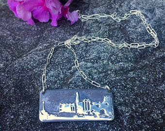 Rock of Cashel Rectangle Pendant Handcrafted from Fine Silver, 18 inch Sterling Silver 1.9mm Flat Elongated Cable Chain