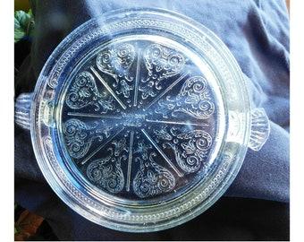 Glass Fire King Trivet, Anchor Hacking glass trivet -Clear Glass handled trivet - Round Embossed trivet - Farmhouse Kitchen -  # 92