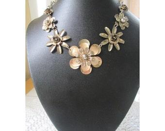 Flower Necklace * Gold Tone * Statement Piece