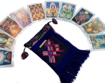 Embroidered Tarot Bag - Blue Tarot Bag - Tarot Bag - Small Bag - Drawstring Bag - Blue Bag - Handmade Bag - Pouch - Small Pouch - Purse
