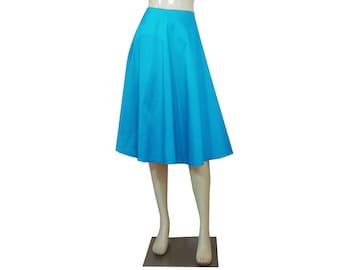 Taffeta Skirt Aqua Blue Skirt Bridesmaids Skirt Prom Skirt Formal Skirt in Tea Length XS S M L XL