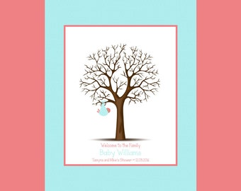 Thumbprint Tree for Baby Shower, Baby Shower Thumbprint Tree With Faux Matte, Keepsake Thumbprint Guest Book, Nursery Decorations