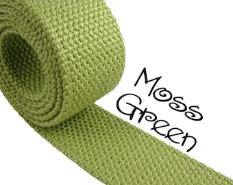 """Cotton Webbing - Moss Green - 1.25"""" Medium Heavy Weight for Key Fobs, Purse Straps, Belting - SEE COUPON"""