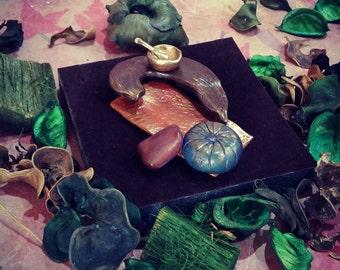 Polymer clay Miniature meditation altar set - Fairy Garden Decor - house decor