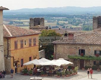 Photograph of Italy, Italian Landscape Photography, Italian Wall Art, Tuscany Photography, Piazza Print, Italian Decor, Pale Blue Italy Art