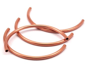 Copper Noodle Tube Beads - 8 Raw Copper Semi Circle Tubes (4x80mm) D478