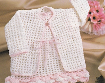 PDF baby crochet dress pattern with coat vintage crochet pattern INSTANT download baby pattern only